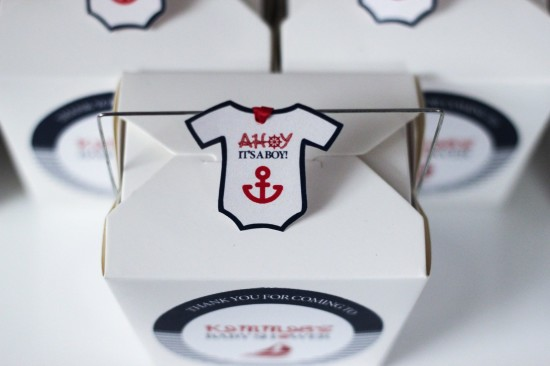 Ahoy! Nautical Themed Baby Shower take out boxes