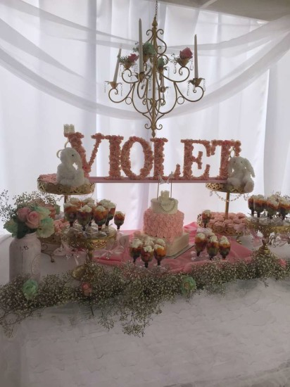 Elegant Shabby Chic Baby Shower, violet, pink