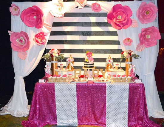 Kate Spade Inspired Baby Shower dessert table