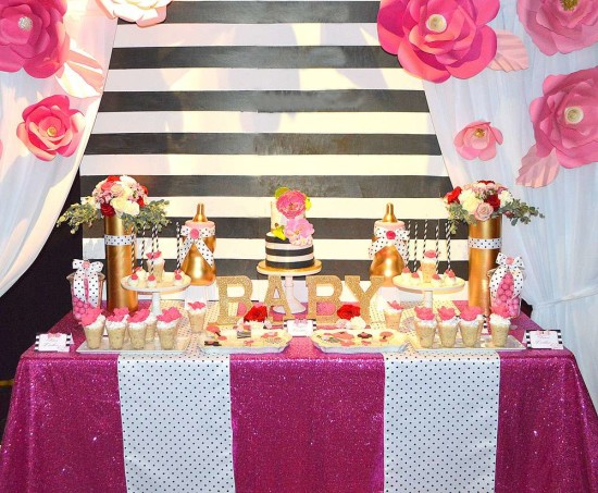 Kate Spade Inspired Baby Shower dessert table ideas
