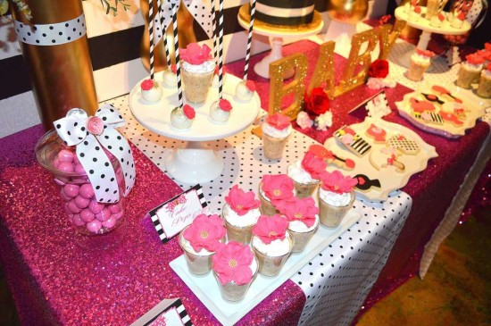 Kate Spade Inspired Baby Shower dessert table in black and white stripes backdrop