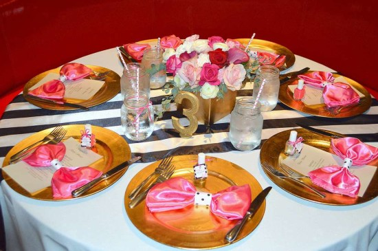 Kate Spade Inspired Baby Shower table setting for guests