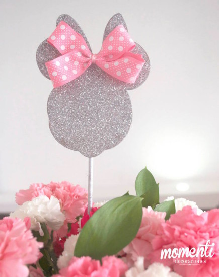 Pink Minnie Mouse Baby Shower centerpiece in silver glitter