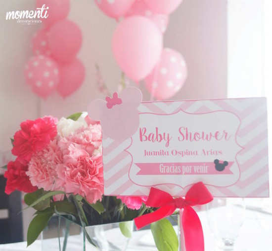 Pink Minnie Mouse Baby Shower decorations