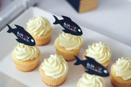 ahoy, nautical baby shower cupcake toppers in fish shape