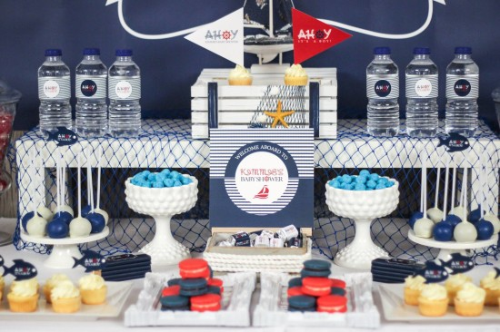 ahoy, nautical baby shower decoration ideas