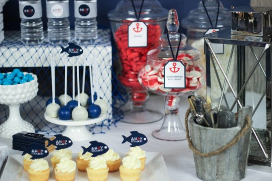 ahoy, nautical baby shower decoration ideas, dessert buffet table