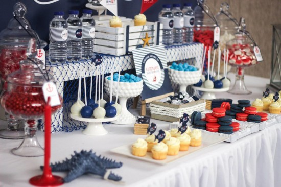 ahoy, nautical baby shower decoration ideas, dessert table