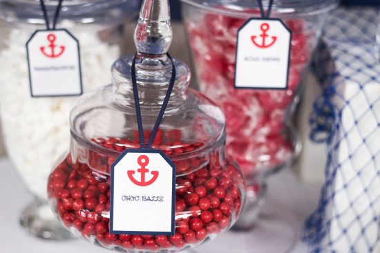 ahoy, nautical baby shower sweets and candies