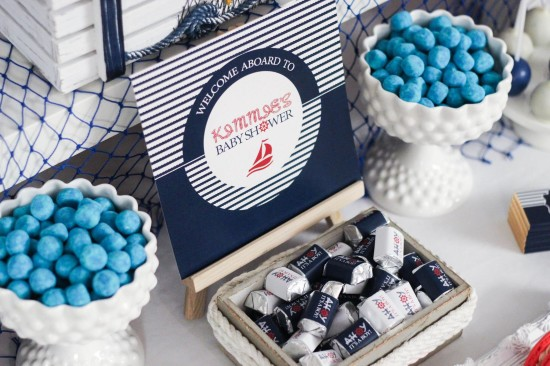 ahoy, nautical baby shower sweets, chocolates with personalized wrappings