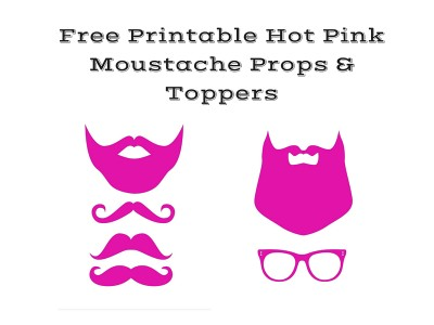 free pink mustache baby shower props