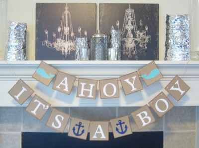 Ahoy It's a Boy baby shower banner, nautical theme
