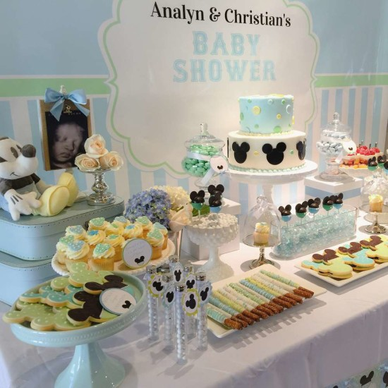 Baby Mickey Mouse Baby Shower dessert table