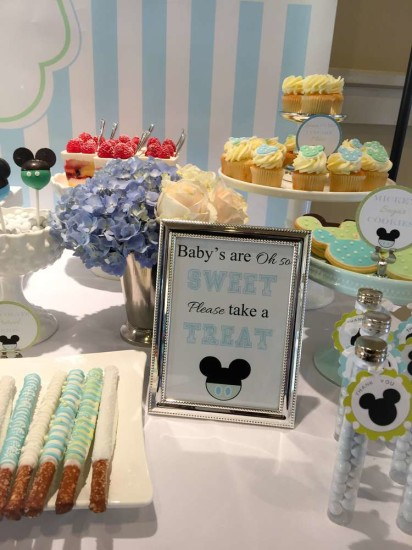 Baby Mickey Mouse Baby Shower dessert table ideas