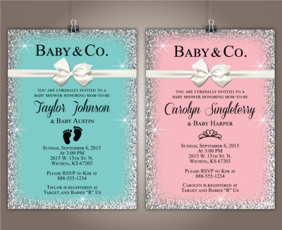tiffany pink baby shower invitations