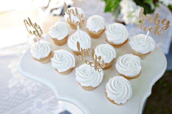 Backyard Baby Shower cupcake, gold glitter cupcake toppers