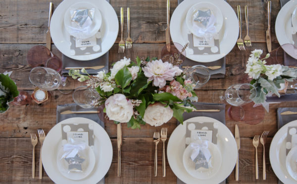Rustic Backyard Baby Shower guest table setting
