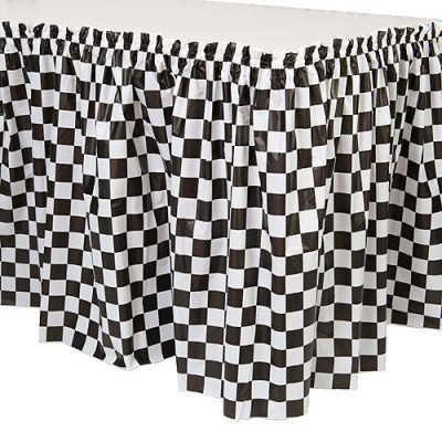 Black and White Check Table Skirt
