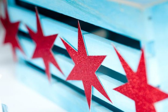 Chicago Baby Shower decoration, red glitter stars