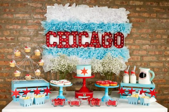 Chicago Baby Shower dessert table ideas