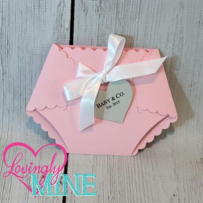 Deluxe Diaper Shape Baby Shower Invitation, pink tiffany baby shower invitation