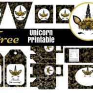 Free Black and Gold Unicorn Baby Shower