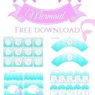 Free aqua Mermaid baby shower Printable