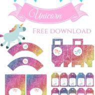 Free Rainbow Glitter Unicorn party printables