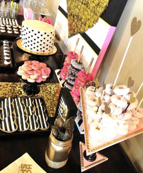 Glam Baby Shower dessert table backdrop and desserts