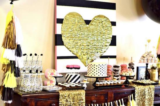 Glam Baby Shower dessert table ideas