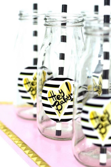 Glam Baby Shower drink station, labels