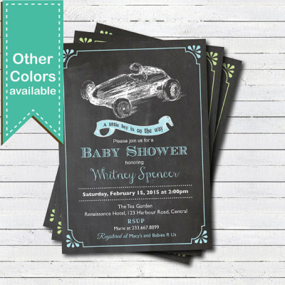 Retro race car baby boy shower invitation