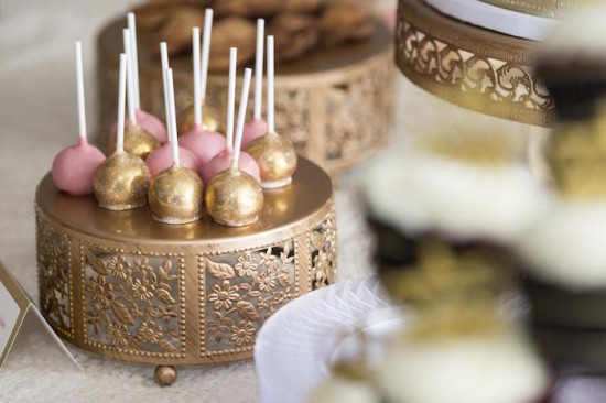 Royal Pink and Gold Baby Shower cake pops