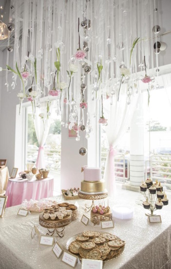 Royal Pink and Gold Baby Shower ceiling decoration ideas