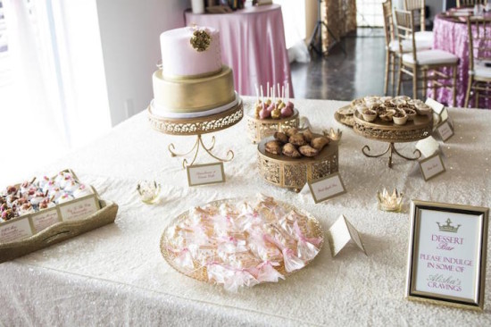 Royal Pink and Gold Baby Shower dessert table ideas