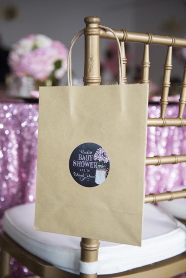 Royal Pink and Gold Baby Shower favor bag