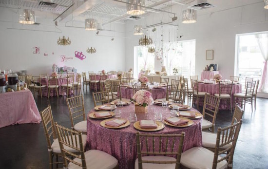 Royal Pink and Gold Baby Shower table setting, room