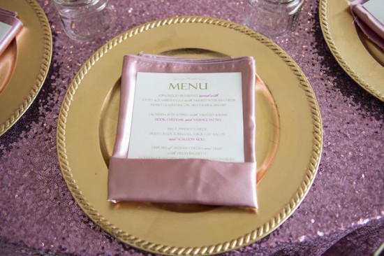 Royal Pink and Gold Baby Shower table setting with menu