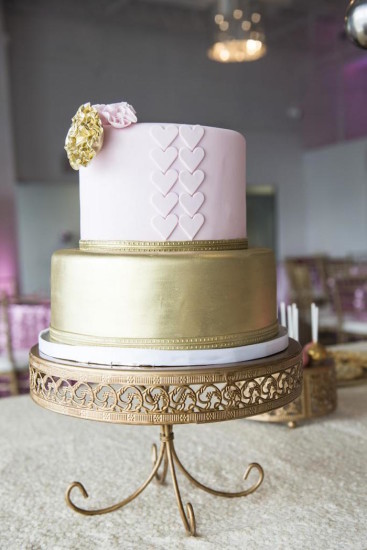 Royal Pink and Gold Baby Shower tiered cake