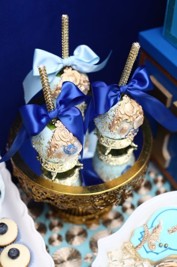 Royal Prince Baby Shower cakepops in gold and royal blue
