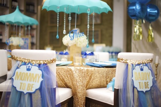Royal Prince Baby Shower co-ed baby shower guest table