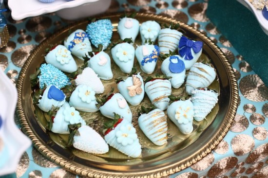 Royal Prince Baby Shower strawberry coated in blue chocolate