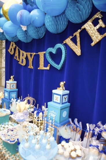 Royal blue Prince Baby Shower main table