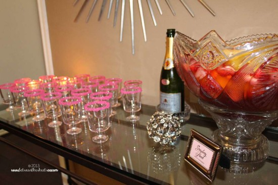 Tiffany Pink Baby Shower, drinking station