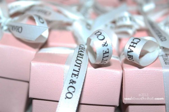 Tiffany Pink Baby Shower favor boxes