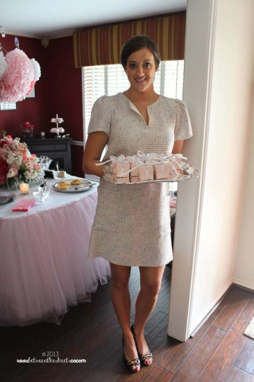Tiffany Pink Baby Shower favor boxes, soft pink tulle tabels skirts