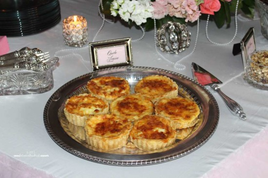 Tiffany Pink Baby Shower food table, quiche