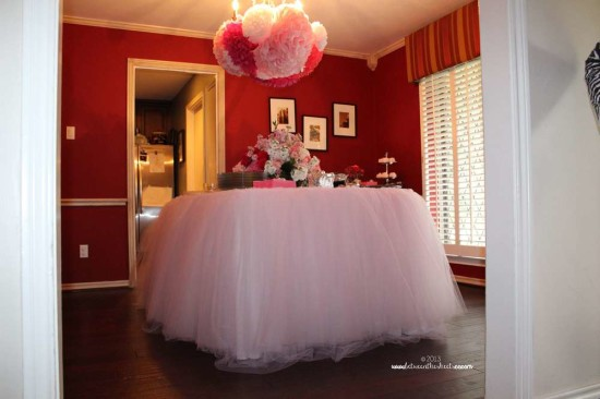 Tiffany Pink Baby Shower food table, tulle skirts