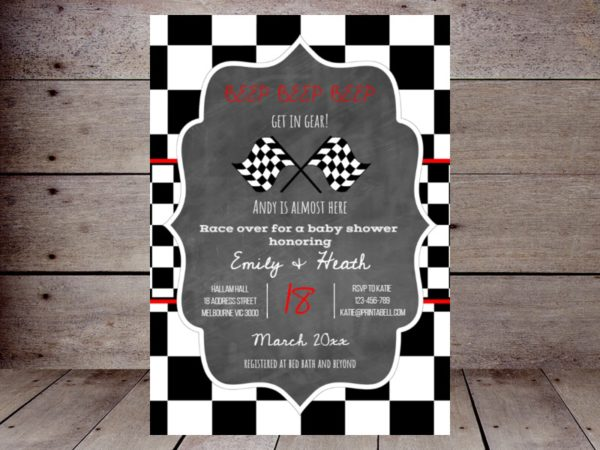 editable-checkered-racing-car-baby-shower-invitation