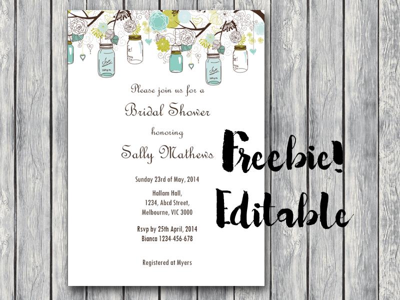 free printable baby shower invitations, mason jar free invitation, rustic